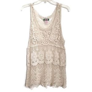 Flying Tomato Cream Lace Sleeveless Top Sz M/L